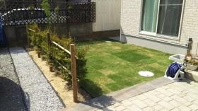 芝生と生垣